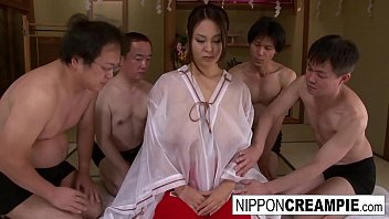 Teen Asian Bitch With Big Tits Takes 4 Cocks At Once